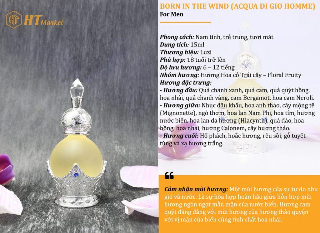 Tinh dầu nước hoa dubai Born in the wind